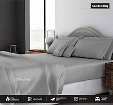 1000 thread count sheets. Perfect Count SGI Bedding 1000 Thread Count Egyptian Cotton Sheets Queen 4 Piece Sheet  Set Light Grey Solid To