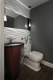 Simple Modern Half Bathroom Powder Room With A Gorgeous Accent Wall An Throughout Design