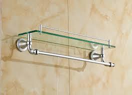 bathroom shelf towel bar for top shelf wall mount cosmetic holder with towel bar in bathroom shelves