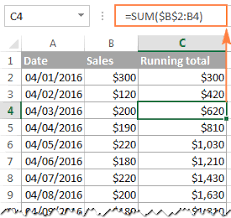 How To Do A Running Total In Excel Cumulative Sum Formula