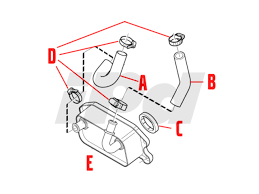 volvo engine oil cooler hose 114469 31104688 31439470 30676906v 114469 engine oil cooler hose position b in diagram