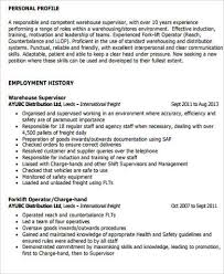 Sample Warehouse Management Resume Supervisor Resume Sample 9 Examples In Word Pdf