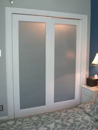 wall white wooden double sliding closet doors plus frozen glass on the middlewall mount door hardware
