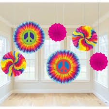 the feelin groovy paper fan decorations are a perfect way to perk it up these fun paper fans feature rainbow swirls and giant peace signs