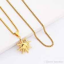 whole fashion hip hop jewelry sun pendant necklaces men 18k gold plated 70cm long chain stainless steel design silver jewelry gold jewelry from