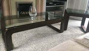 coffee table and side table heavy glass wood