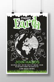 Chalk Board Earth Day Flyer Templates Template Psd Free