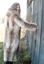 russian lynx hooded full length faux fur coat 4