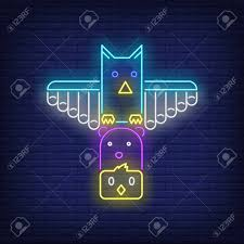 Totem Pole Design Template Totem Pole With Birds And Bear Neon Sign Culture Idol Religion