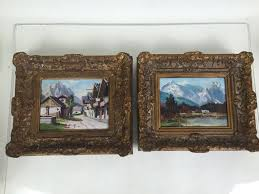 pair of nicely executed original oil paintings on board in vintage gilt frames signed by artist