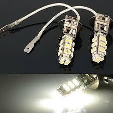 2x <b>H3</b> 28-<b>LED</b> White Fog Lights DRL Driving Light Bulbs 12V DC ...
