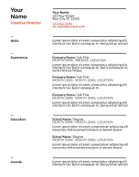 Outline For Resume For A Job Google Doc Resume Templates Resume Template Free Create A