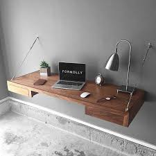 wall mounted office desk. Floating Desk With Storage - Walnut Wall Mounted Industrial Office