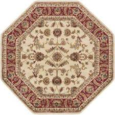 sensation beige 8 ft octagon transitional area rug