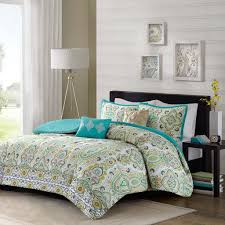 5pc teal blue green yellow queen comforter set ogee fl