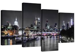 amazon wallfillers canvas wall art of london skyline for your living room 4 panel pictures 130cm x 67cm black white posters prints on amazon uk black and white wall art with amazon wallfillers canvas wall art of london skyline for your