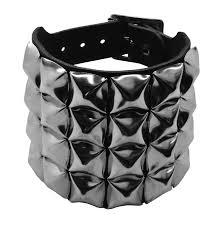bullet 69 black 4 row pyramid studded leather wristband
