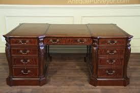 fine antique reion leather top partners desk for leather top partners desk fine antique