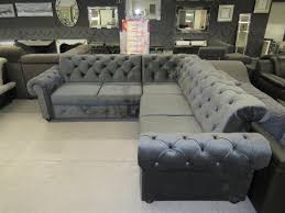 Chesterflield Couch Sofa Grau L Form Schlaffunktion Bettkasten