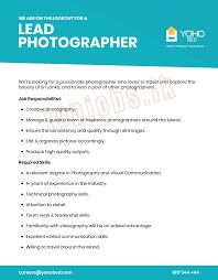 Lead Photographer Jobs In Sri Lanka 0 Yrs Yoho Bed