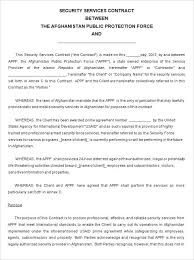 Free Service Contract Template Security Service Contract Template Free Download Ndis