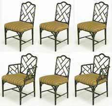 bamboo dining chair living room six 1960s black lacquer chinese pendale style dining chairs