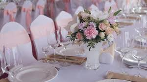 elegant table settings. Tables Set For An Event Party Or Wedding Reception. Luxury Elegant Table Setting Dinner In A Restaurant. Glasses And Dishes. Settings