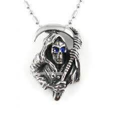 treasure chests vintage style necklace titanium steel men get the sickle of the grim reaper pendant