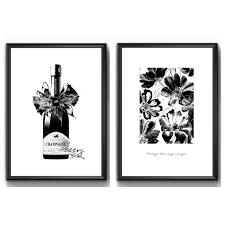 モノトーン シャンパン モノクロ 花柄 絵画 イラスト画 ポスター 雑貨 フリマアプリ ラクマ