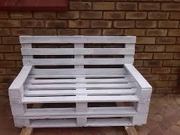White Washed Pallet Garden Bench: