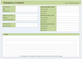 emergency contact template emergency contact form template for every field