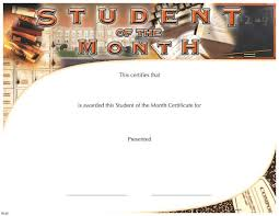 Student Of The Month Certificates Student Of The Month Certificate Wilson Awards