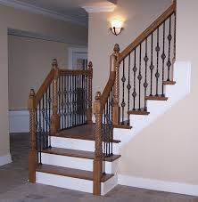Wrought Iron Color Adorn Staircase Using Beautiful Iron Stair Railing Charming