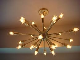 sputnik starburst light fixture chandelier lamp satin brushed brass with bulbs