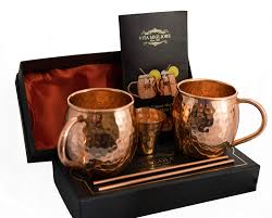 moscow mule copper mugs handcrafted copper cups by vita migliore 100 pure solid hammered best moscow mule gift set includes set of 2 cups 2 straws