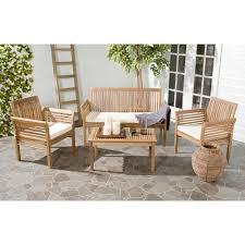 safavieh carson teak look 4 piece outdoor patio conversation set with beige cushions