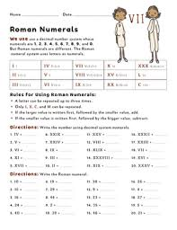 Roman Numerals Chart For Kids Working With Roman Numerals Worksheet Education Com