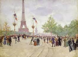 jean beraud painting entrance to the exposition univere by jean beraud
