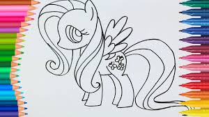 Learn Colors L How To Draw And Color Mlp Fluttershy Coloring