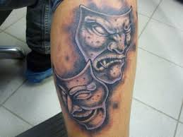 театральные маски тату фото