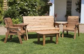 uk made fully assembled heavy duty wooden garden companion seat set with coffee table 5