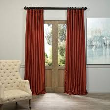 exclusive fabrics burnt orange vintage faux dupioni silk curtain panel silk curtainswindow dressingsrust color
