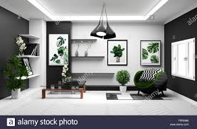 Green And Gray Interior Design Modern Tropical Living Room Interior With Sofa And Green