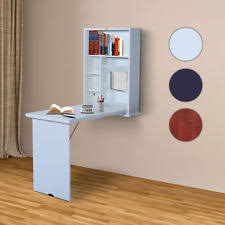 office desk with storage. Wall Mount Writing Table Convertible Folding Computer Desk Storage Home Office With