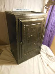 early 1900s antique pressed tin pie safe bread box vintage kitchen cabinet metal