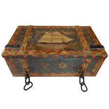 Steamer Trunk Furniture Antique Trunk Painted Wood Ship Sailing Boat For Sale At 1stdibs