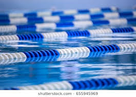 blue and white peion lanes in outdoor swimming pool