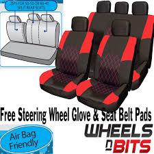 honda jazz crv crx red black cloth car seat cover full set split rear seat 1 of 4free