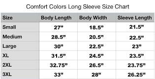 Comfort Colors Unisex Size Chart Cc Pacific Northwest Diamond Long Sleeve Products Color