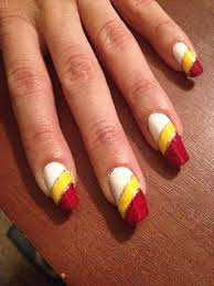 Red And Yellow Nail Designs Manicure Chiefs Football Team Long Nails Mani Natural Opi
